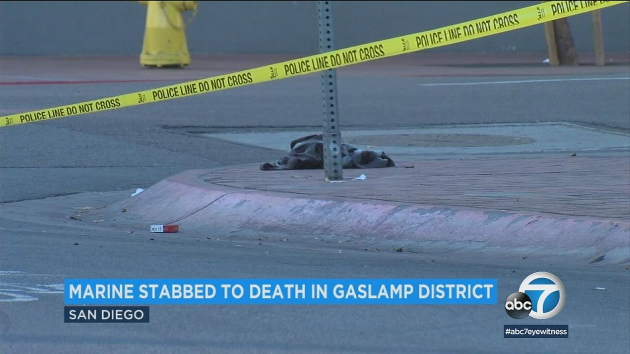 A Camp Pendleton-based Marine was killed and another man was wounded in a double-stabbing early Friday morning in the Gaslamp Quarter of downtown San Diego, authorities said.
