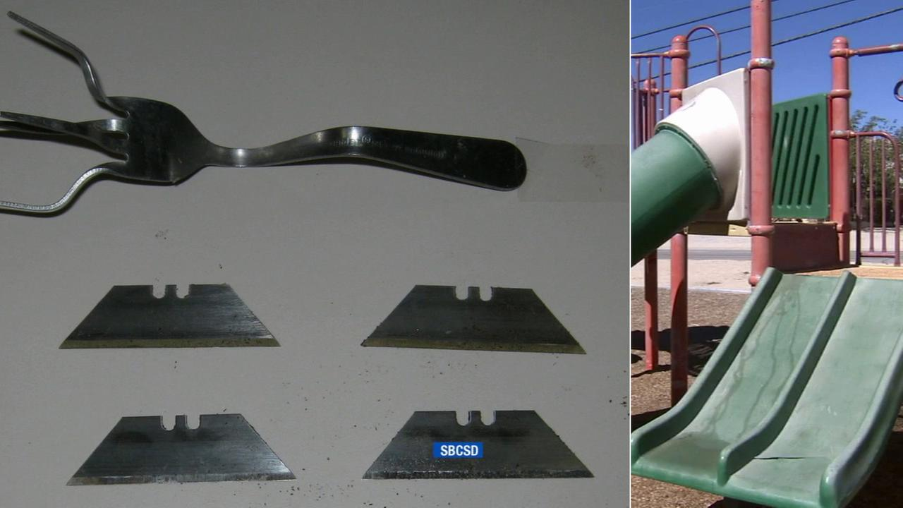 Left: Several sharp objects found at a park in Oro Grande are seen. Right: Oro Grande Park.