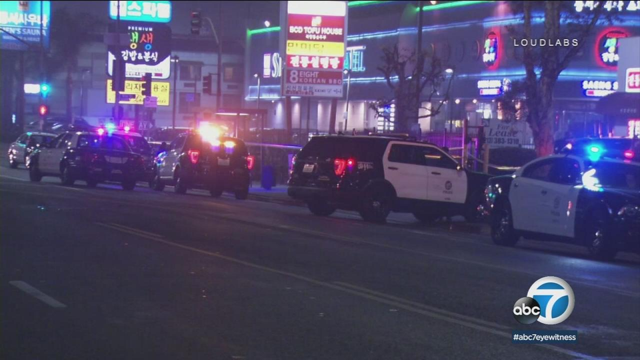 Patrol vehicles at the scene of a Koreatown officer-involved shooting early Sunday, Dec. 31, 2017.