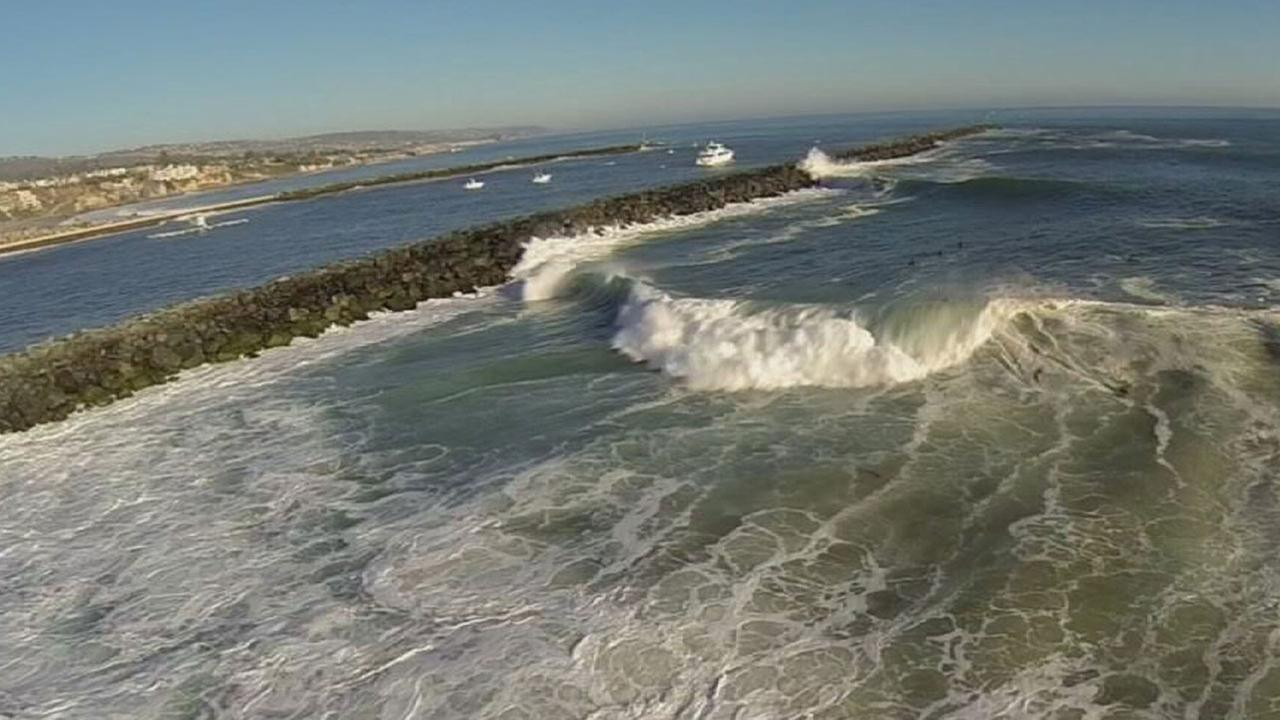 Waves are seen in Newport Beach on Wednesday, Aug. 27, 2014.