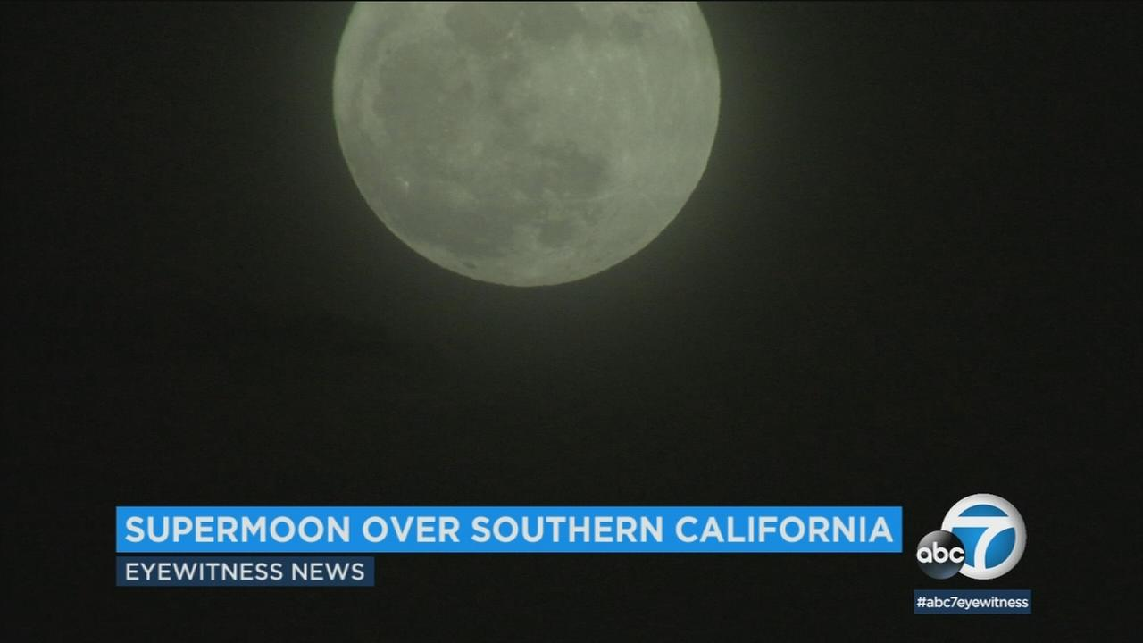 A supermoon is seen over Southern California on Monday, Jan. 1, 2018.