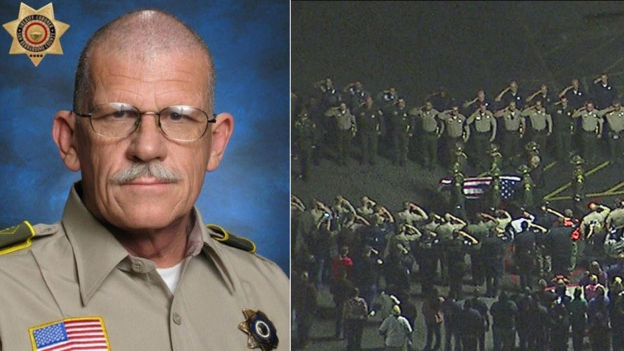 San Bernardino County sheriffs deputy Larry Falce, 70, is shown in a work photo alongside an image of his procession from the hospital to the county coroners office.