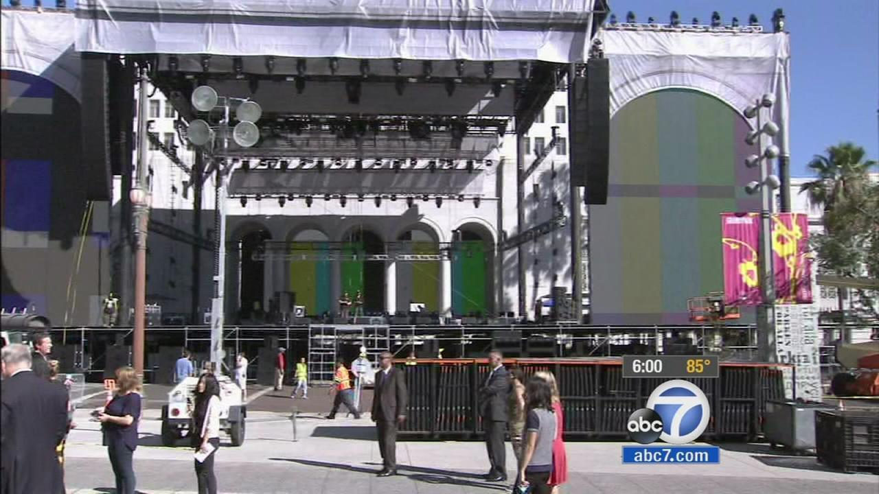 Crews prepare for Made in America music festival, which is expected to take place on Aug. 30 and 31, 2014 in downtown Los Angeles.