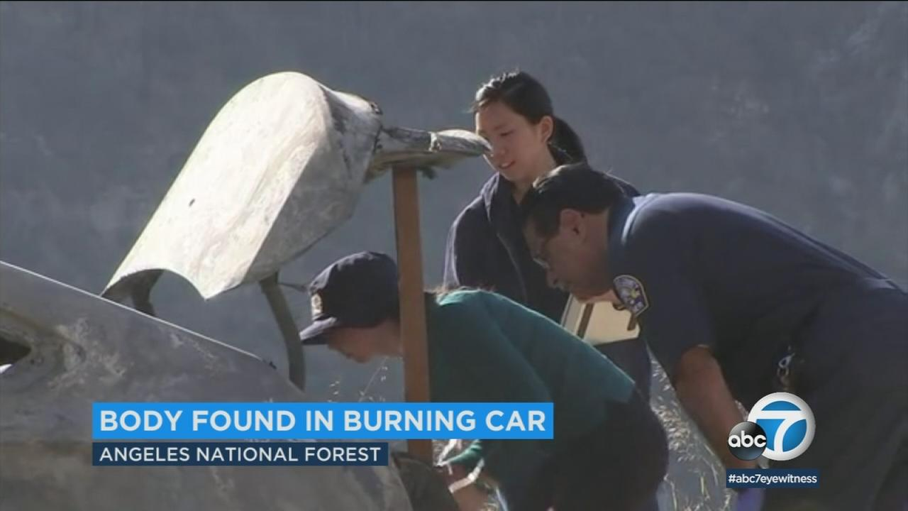 A homicide investigation was underway Friday after a body was discovered in a burned-out car in the Angeles National Forest.