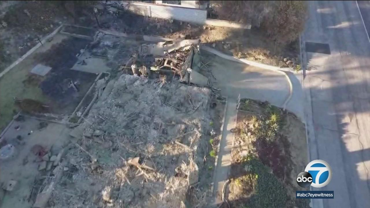 Homes destroyed by the Thomas Fire in a Ventura home are shown in ABC7 drone footage on Thursday, Jan. 5, 2018.