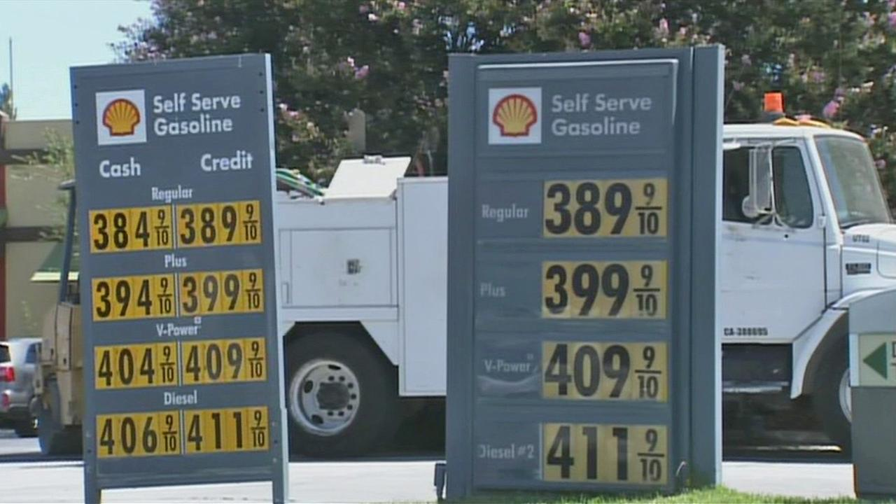 Gas price on display at a gas station in Southern California on Friday, Aug. 29, 2014.