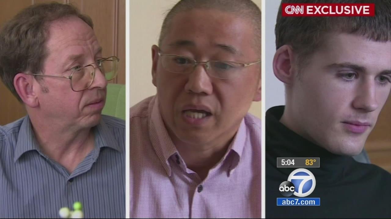 Jeffrey Fowle, Matthew Todd Miller and Kenneth Bae, three Americans detained in North Korea, are seen in this still image Monday, Sept. 1, 2014.