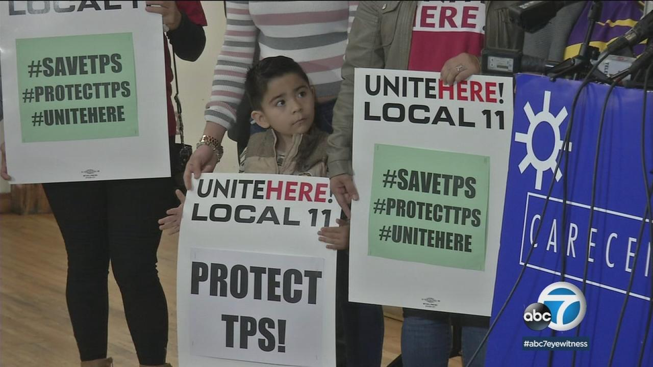 Southern California protesters fight to keep Temporary Protected Status for Salvadorans.