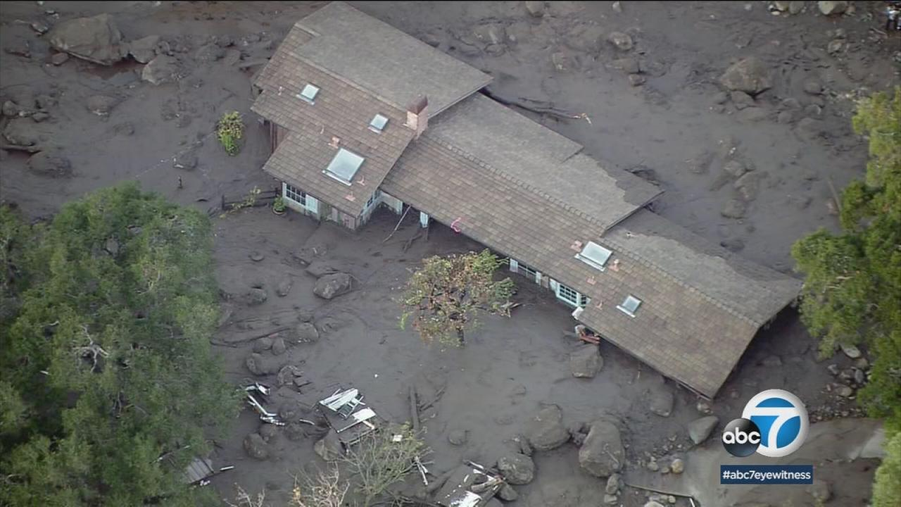 Homes throughout Montecito were buried in mud after a storm that hit early in the morning of Tuesday, Jan. 9, 2018.