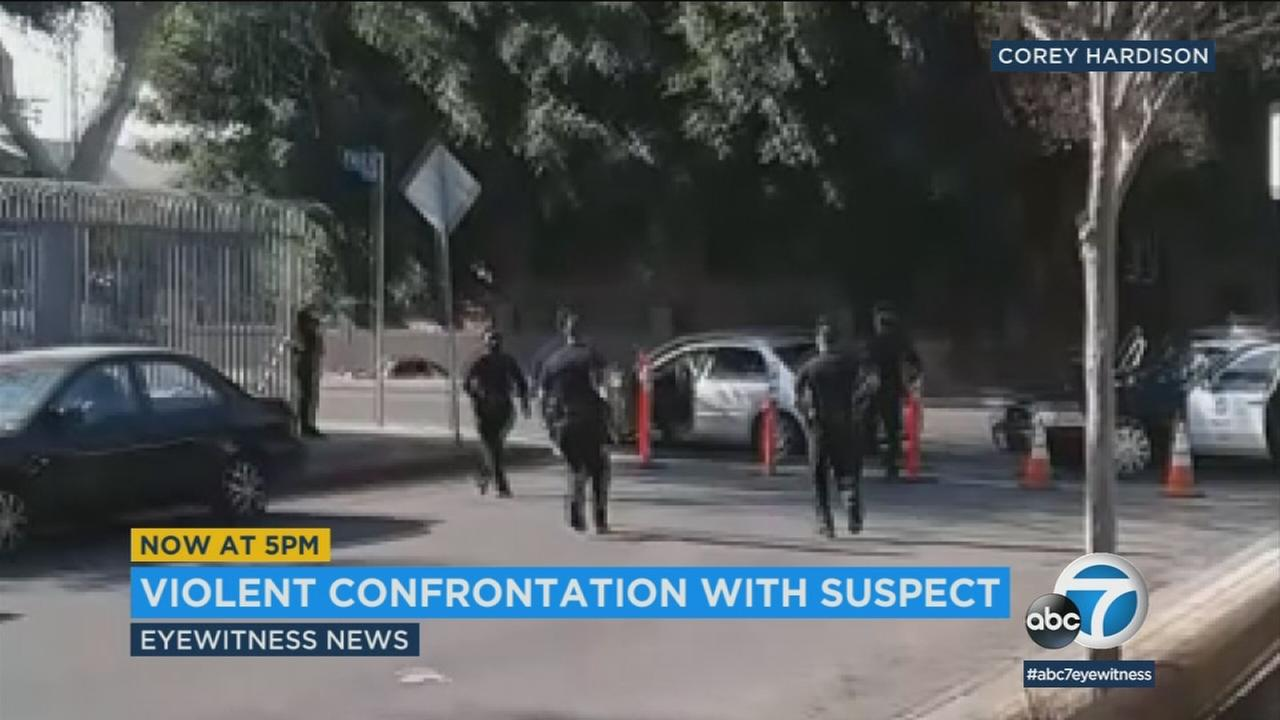 A suspect was injured and taken into custody following an officer-involved shooting in South L.A. Thursday, police said.