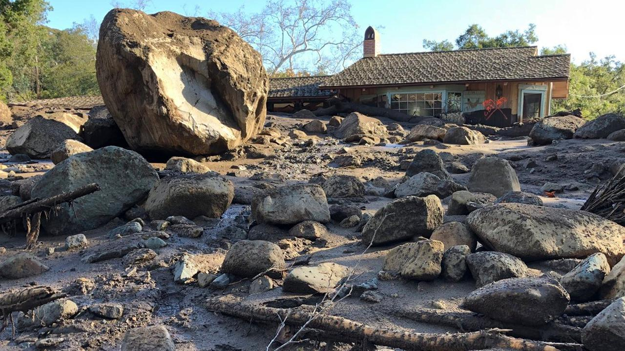 In this photo provided by Santa Barbara County Fire Department, homes were destroyed along San Ysidro Creek near East Valley Road in Montecito, Calif., Wednesday, Jan. 10, 2018.