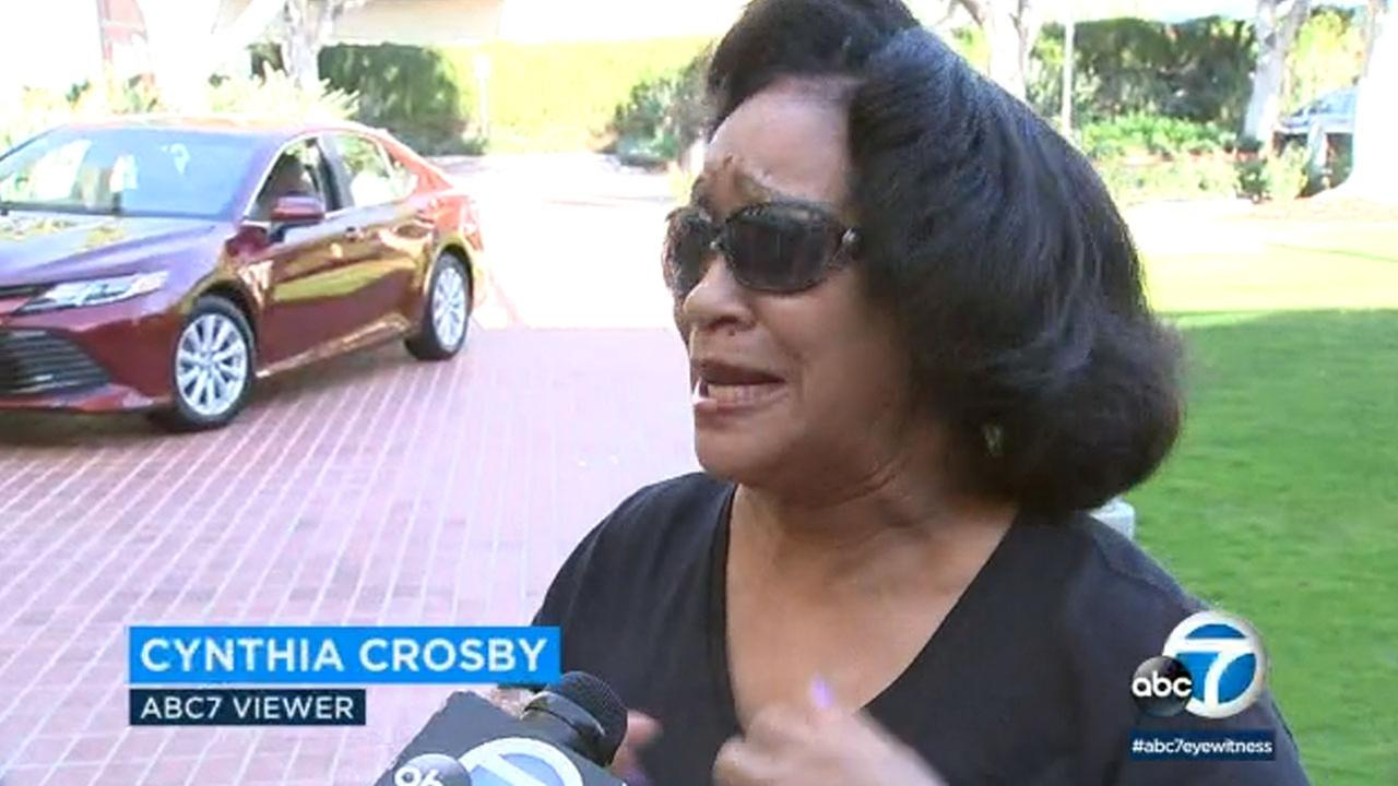 The winner of ABC7s news app Toyota Camry giveaway, Cynthia Crosby, claimed her prize Thursday.