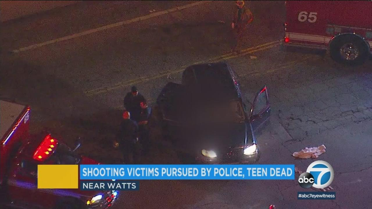 The scene of a deadly car shooting near Watts on Thursday, Jan. 11, 2018.