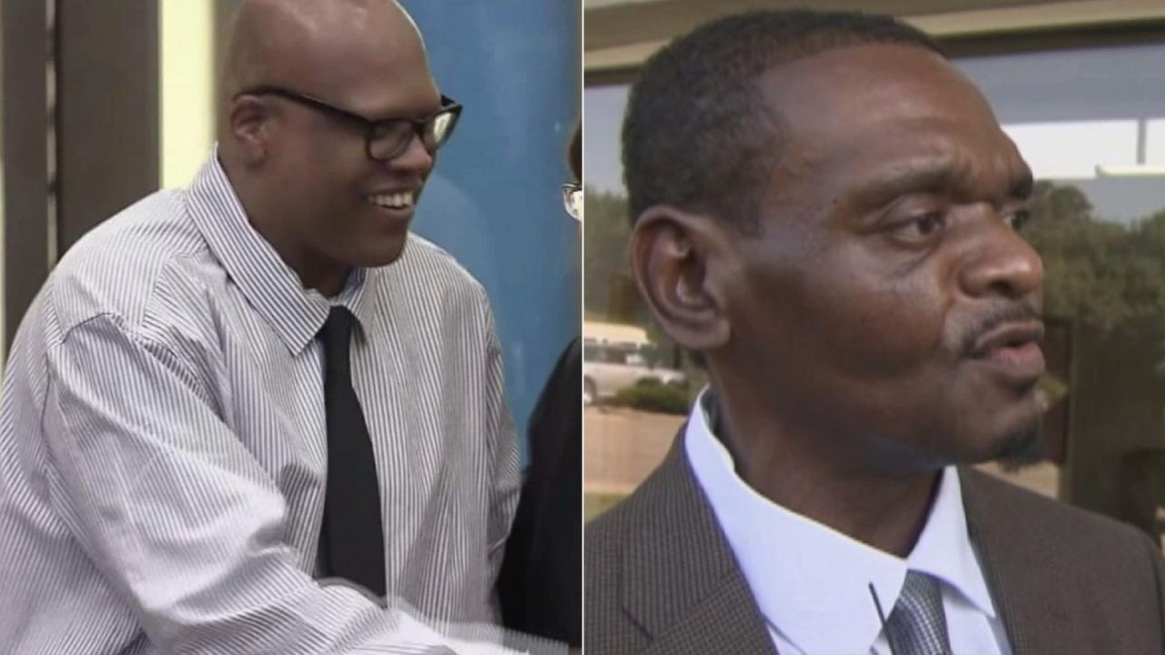 Left: Leon Brown smiles as he is released from prison Wednesday, Sept. 3, 2014. Right: Henry McCollum speaks after his release from prison the same day.
