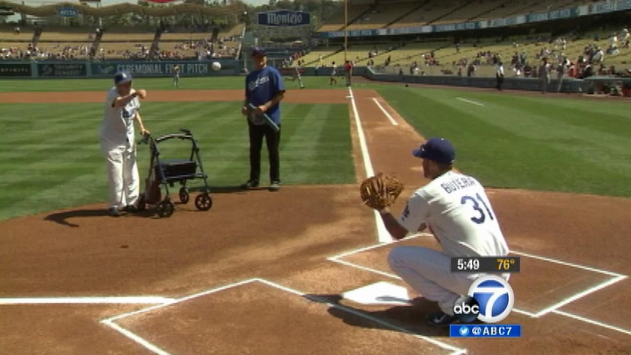 Dorothy Finerty, 100, throws out the first pitch at the Dodger game Wednesday, Sept. 3, 2014.