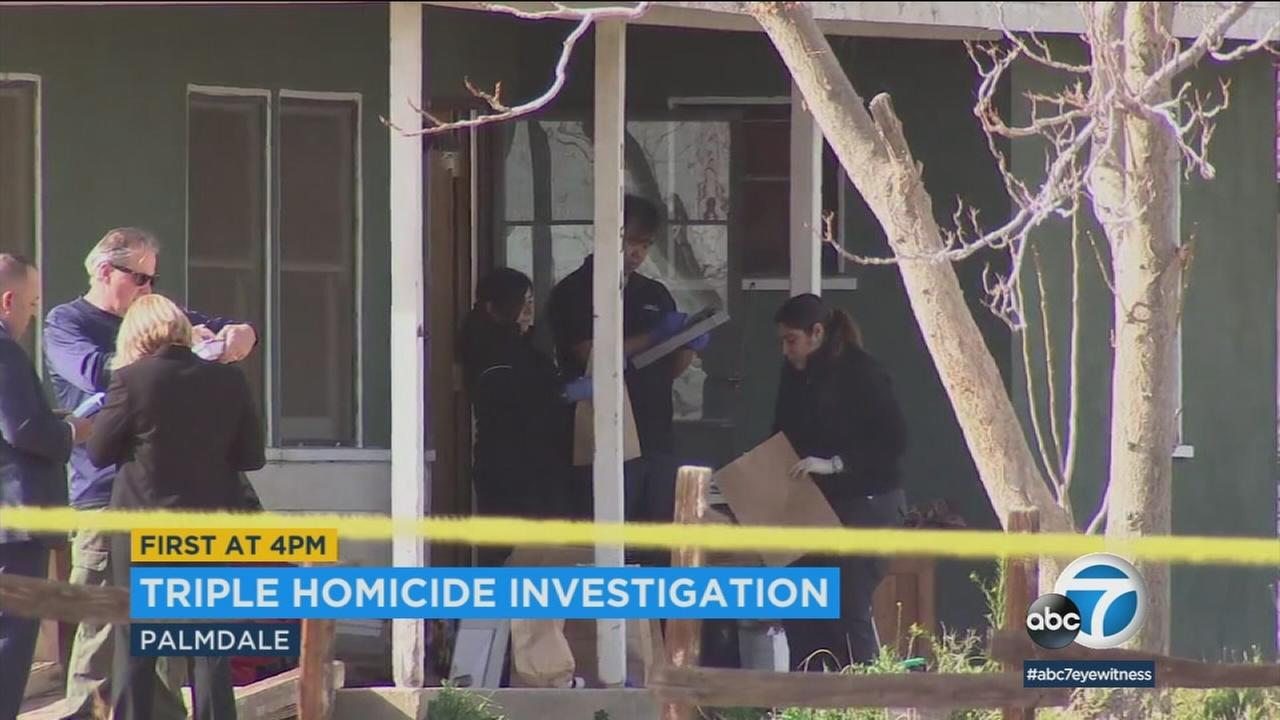Two men and a woman were found dead in Palmdale in an incident that authorities are investigating as a triple murder.