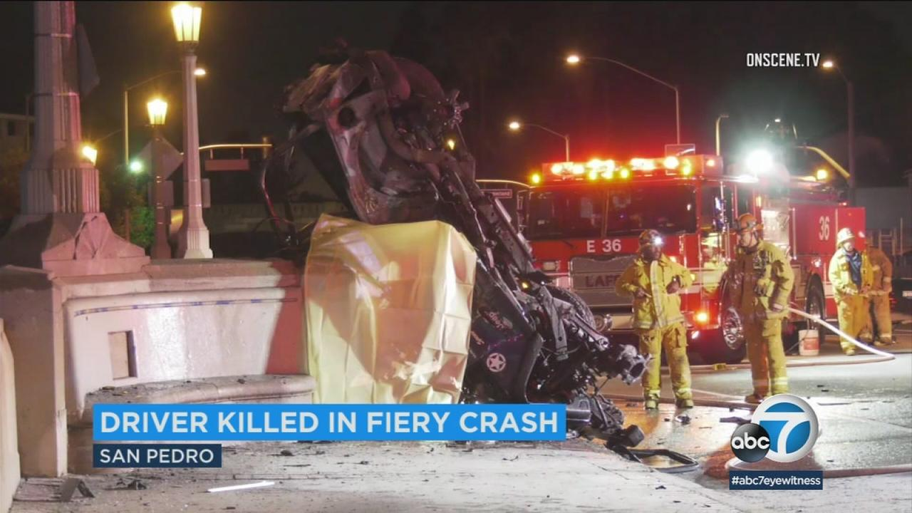 A vehicle is left mangled in a fatal crash in San Pedro that left one man dead early Monday, Jan. 15, 2018.