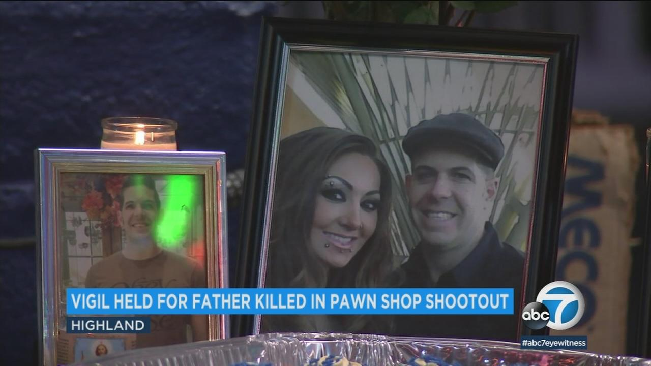 Loved ones held a vigil Sunday for a father of two who was killed during a pawn shop shootout in Highland.
