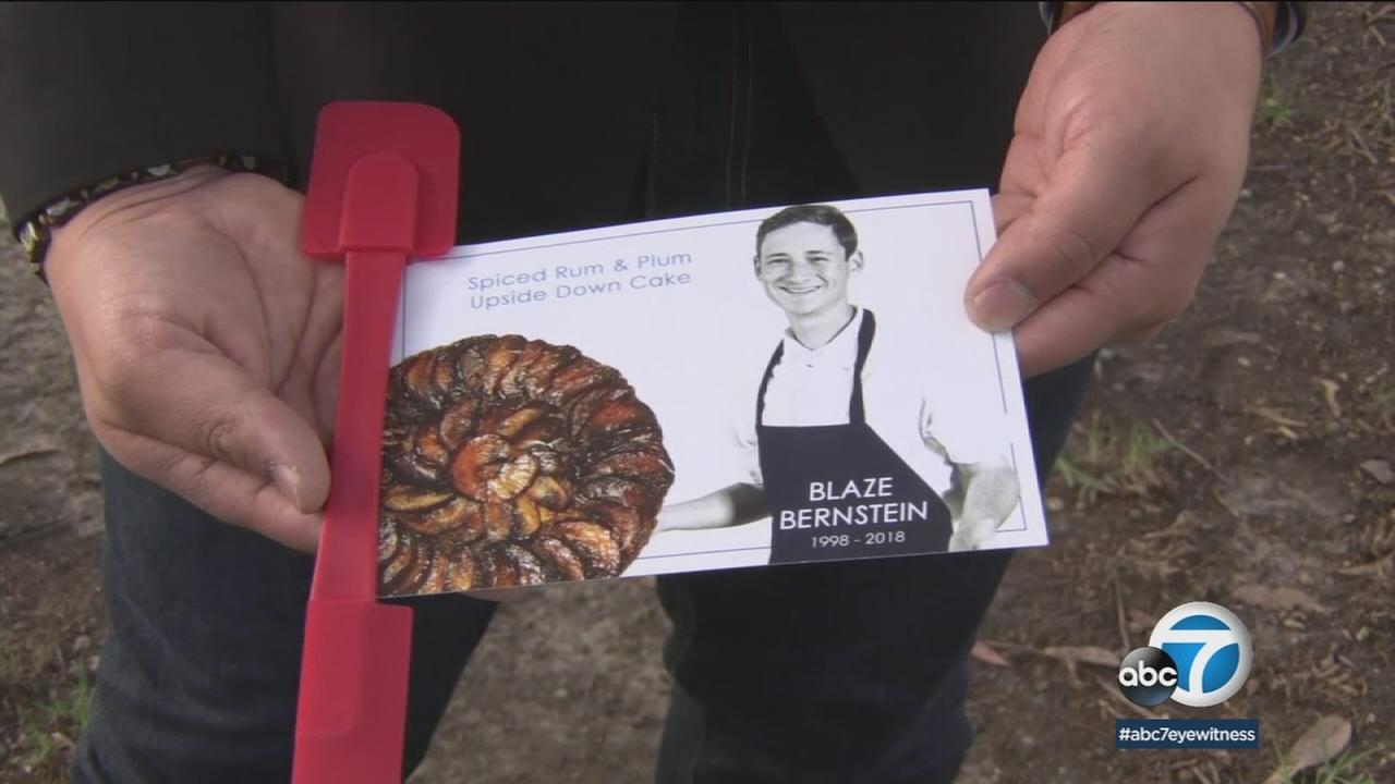 Attendees at a funeral service for Blaze Bernstein were given spatulas and his favorite recipe.