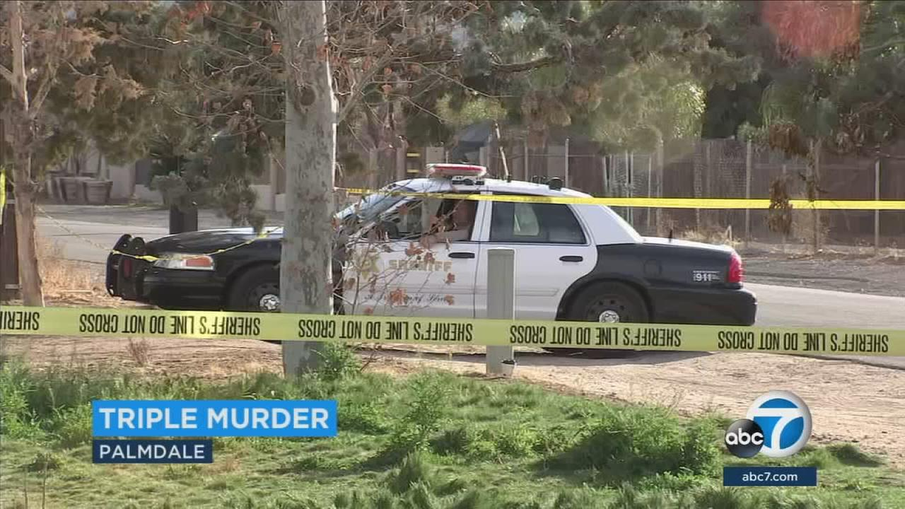 Sheriffs deputies are investigating the murders of three family members at a Palmdale residence.