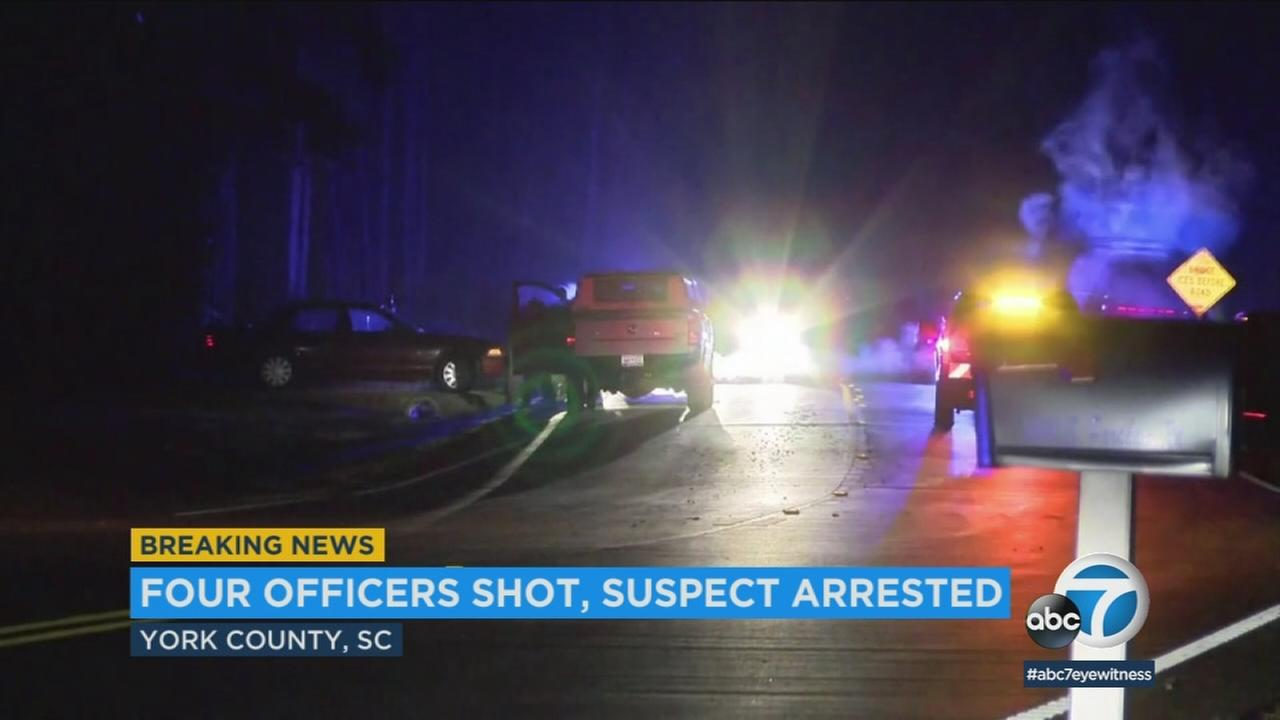 The scene of a police shooting in York County, South Carolina, where four officers were wounded Tuesday, Jan. 16, 2018.