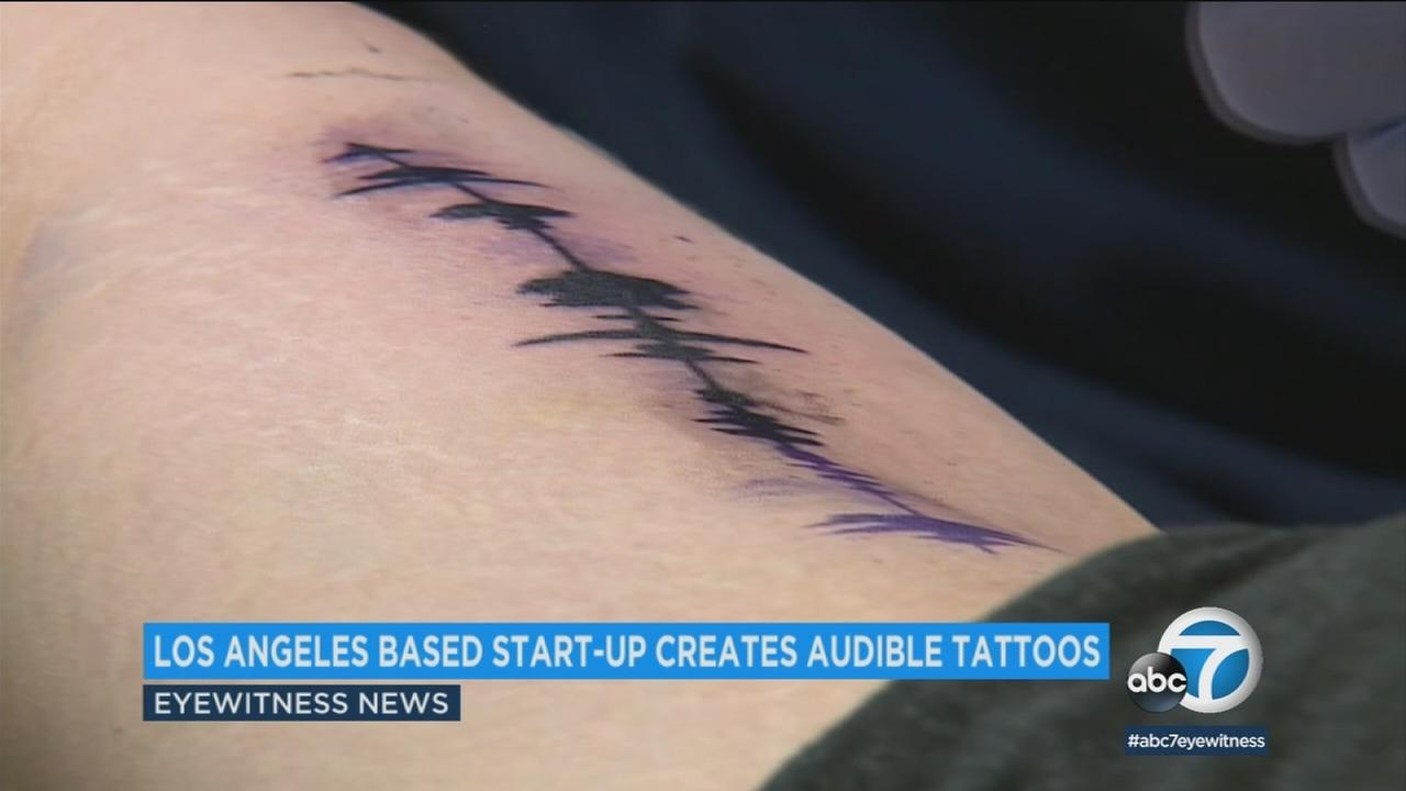 A Los Angeles company has designed tattoos in the form of soundwaves that can play an audio clip when read by an app.
