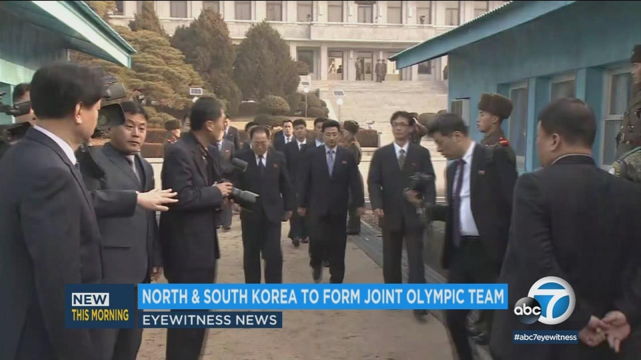 An undated photo of officials from North Korea and South Korea during talks about the Olympics.