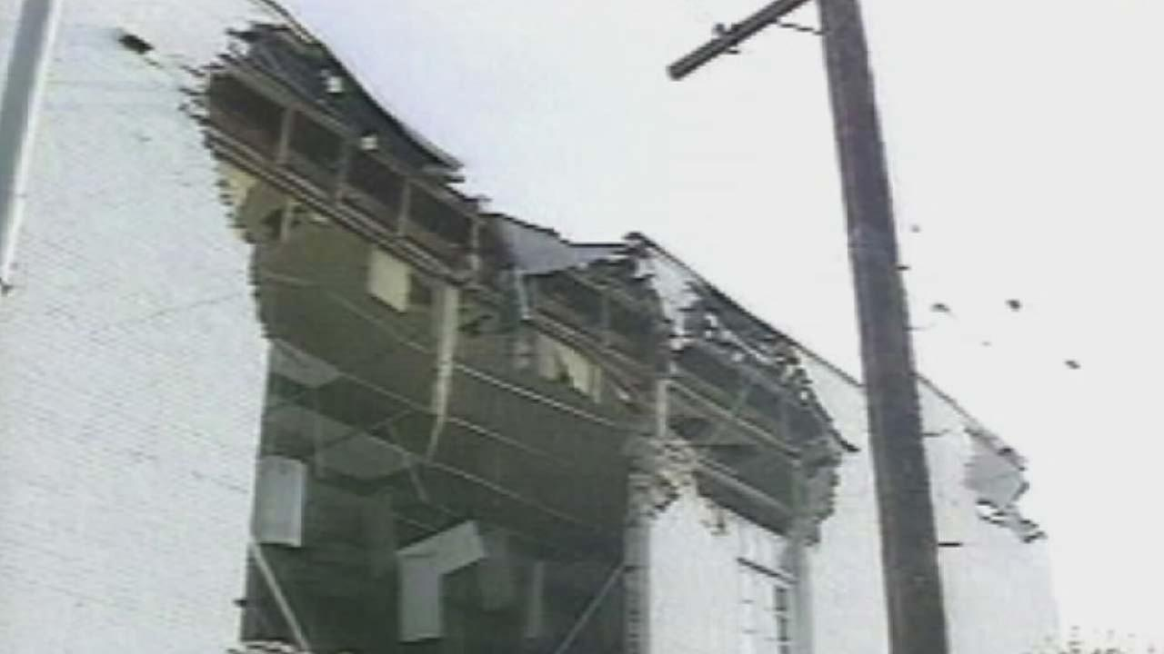 A building on Santa Monica Boulevard shows severely damage following the January 1994 Northridge earthquake.