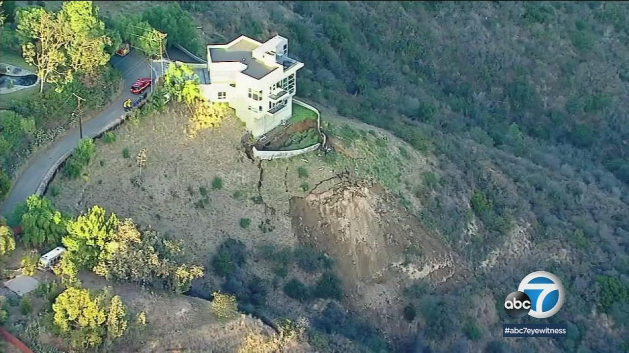 A home along a collapsing hillside in Malibu is shown on Wednesday, Jan. 17, 2018.