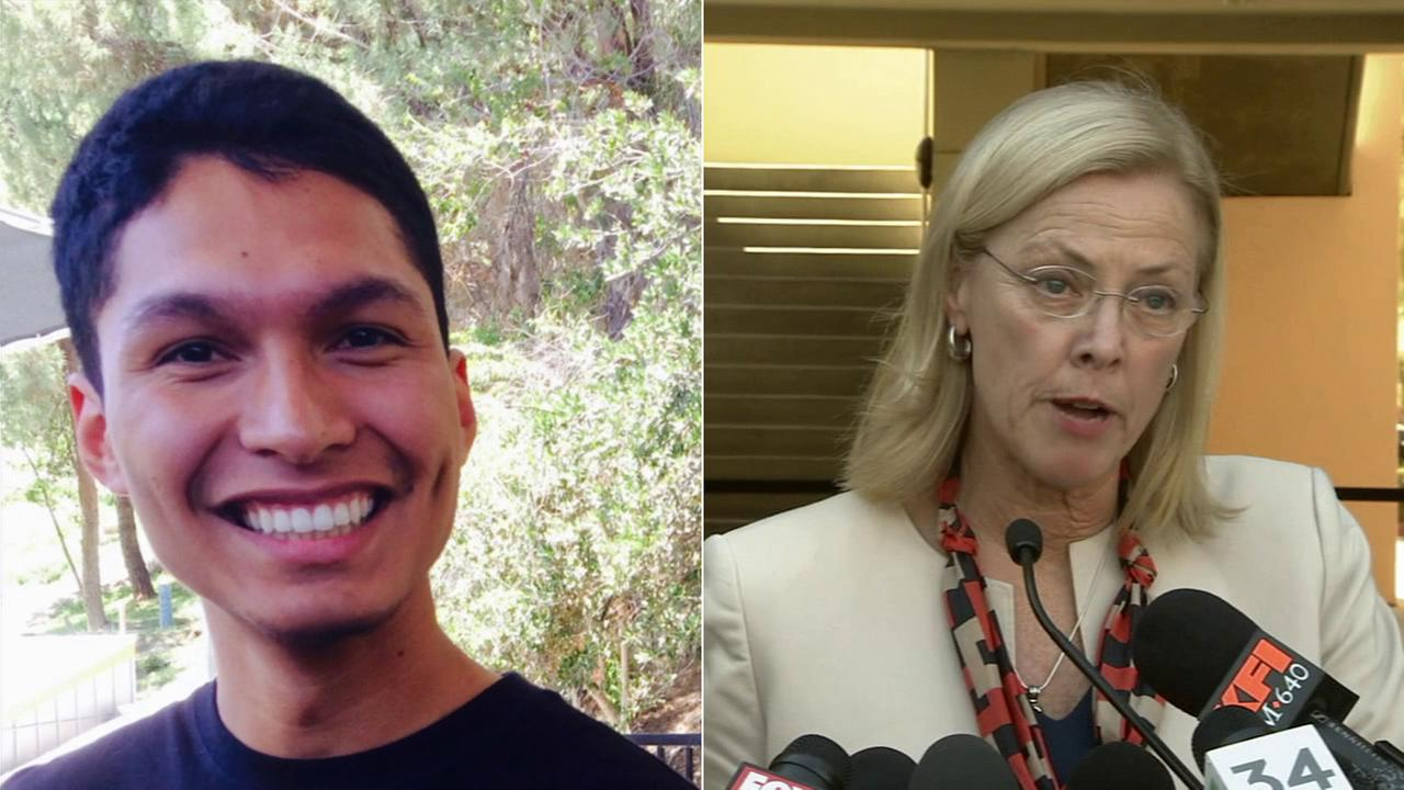 Left: Armando Villa, 19, is seen in an undated file photo. Right: Dr. Diane Harrison, CSUN president, speaks at a news conference about Villas death Friday, Sept. 5, 2014.