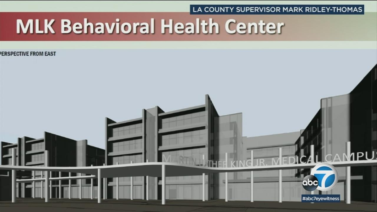 A rendering of a new behavioral health center next to the MLK Community Health Hospital is shown.