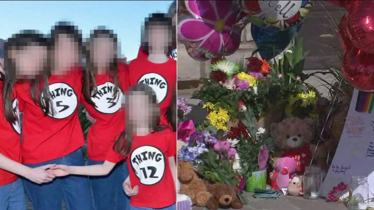 A split image shows some of the 13 siblings allegedly held captive by their parents in a Perris home, alongside a display of balloons from the community.