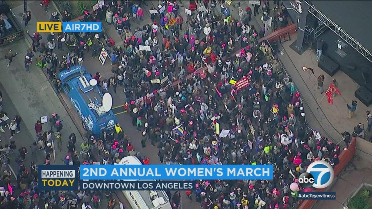Thousands of activists were gathering in downtown Los Angeles on a brisk Saturday morning and more were expected as the second annual Womens March L.A. was set to get underway.