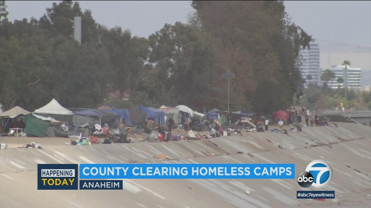 One of several homeless encampments in Orange County that officials are working to clear.