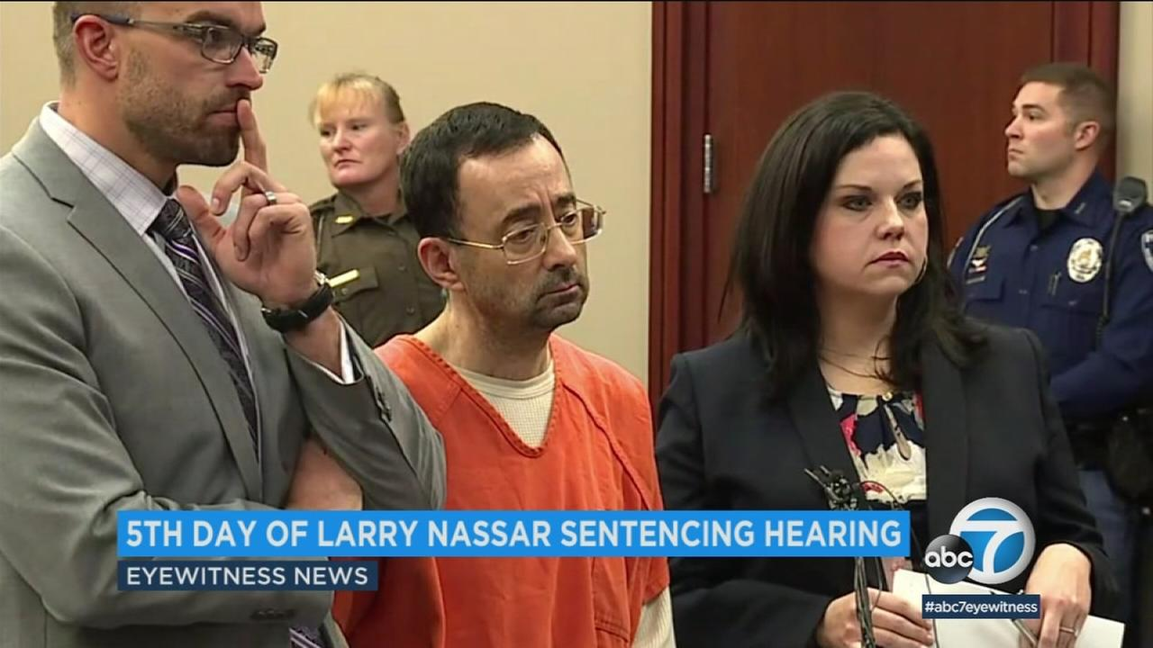 An undated photo of Larry Nassar in court as several gymnasts and former gymnasts read victim impact statements.