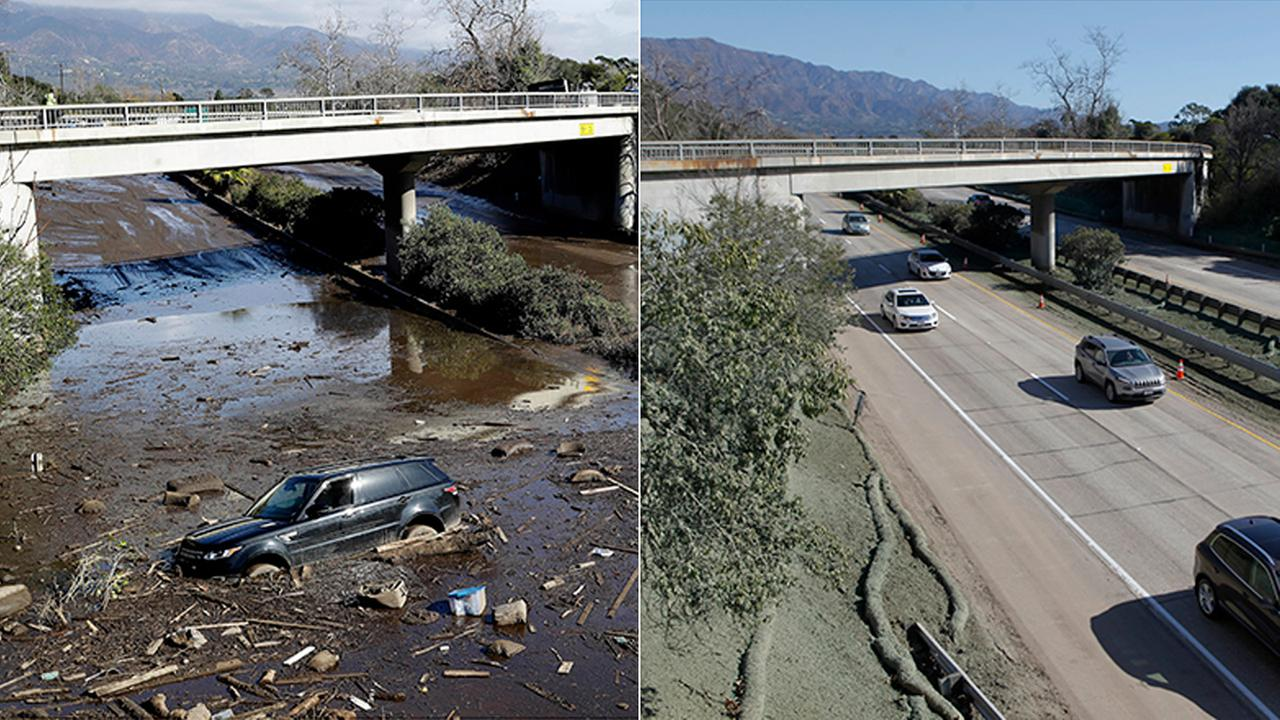 A bulldozer moves debris, left, as a vehicle sits stranded on Highway 101 in Montecito on Jan. 10, 2018, and cars drive on the highway, right, after clean up on Jan. 22.