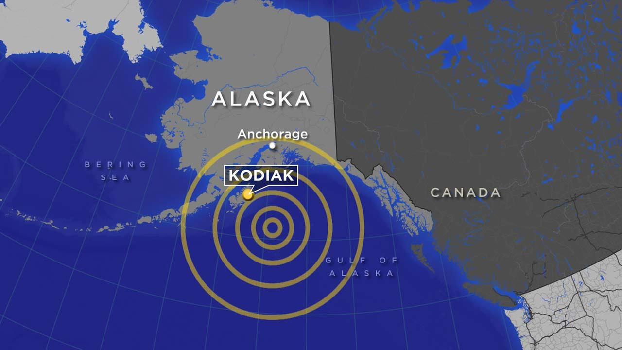 A map shows the location of a powerful earthquake that struck off the coast of Alaska on Tuesday, Jan.23, 2018.