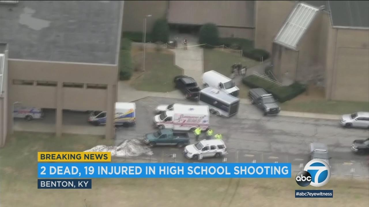 An ambulance at the scene of a deadly school shooting in Kentucky on Tuesday, Jan. 23, 2018.