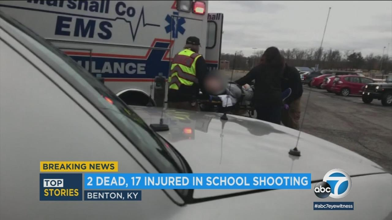 A patient is transported following a Kentucky school shooting on Tuesday, Jan. 23, 2018.
