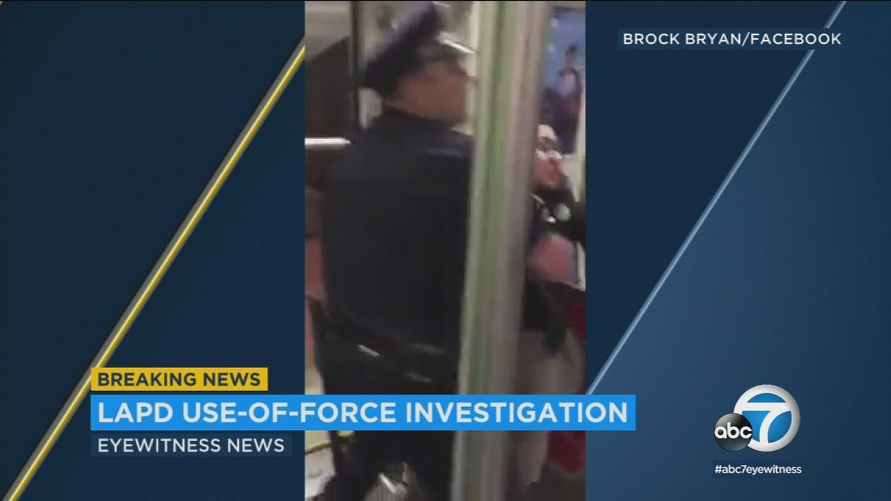 The Los Angeles Police Department is looking into a use-of-force incident on a Metro Red Line train in which a woman was forcibly removed after she wouldnt take her feet off a seat.