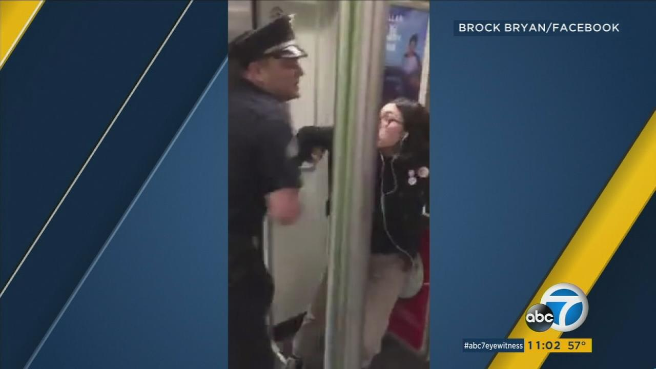 Video shows an 18-year-old woman being forced off a Red Line Metro train by an LAPD officer.