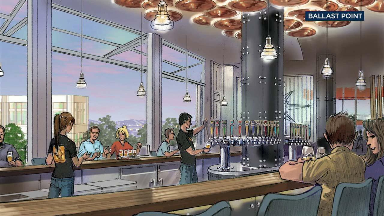 An artist rendering shows the future Ballast Point location expected to open in Downtown Disney in Anaheim.