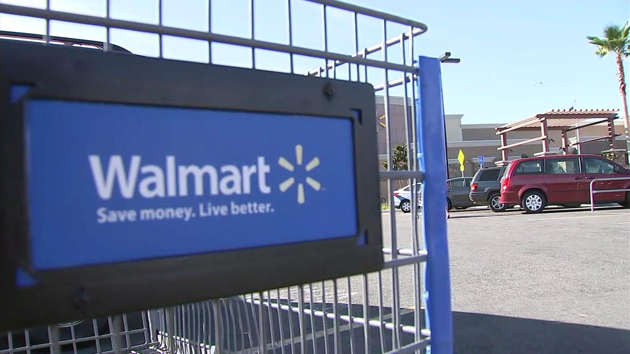 A Walmart shopping cart with the company logo is shown in Perris.