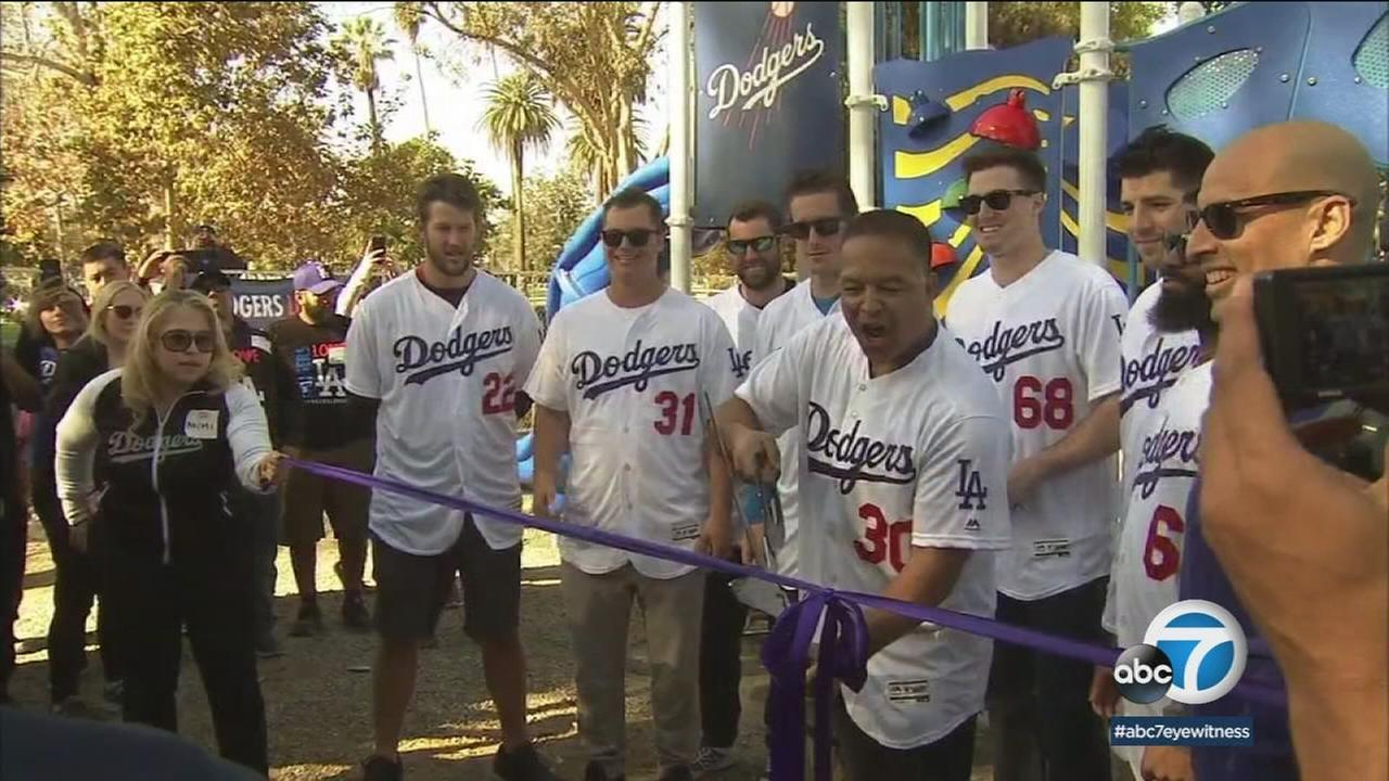 Clayton Kershaw, Dave Roberts and other Dodgers wrapped up the teams Love LA Community Tour on Friday by building a playground in Alhambra.
