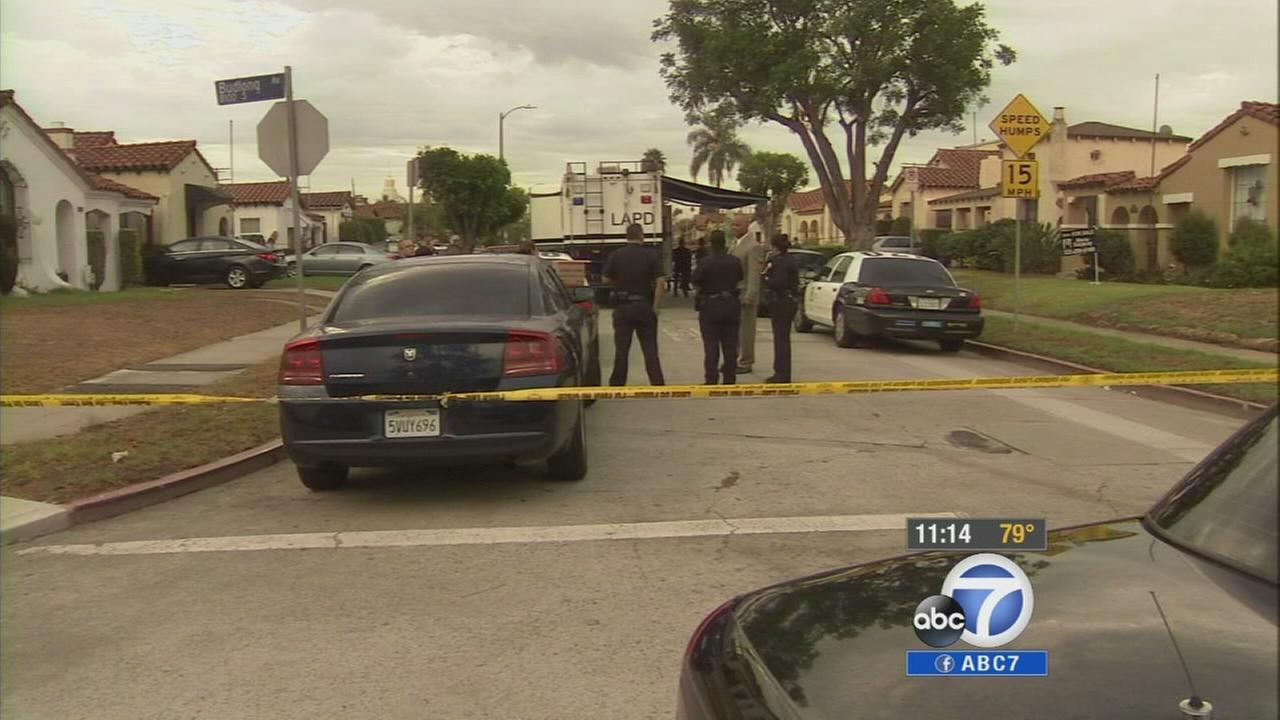 Police investigate an officer-involved shooting in Vermont Knolls on Monday, Sept. 7, 2014.