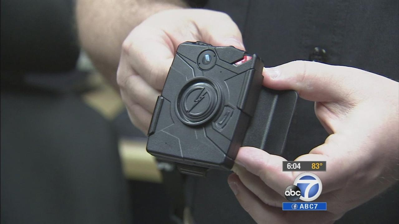 A police body camera is seen in this undated file photo.