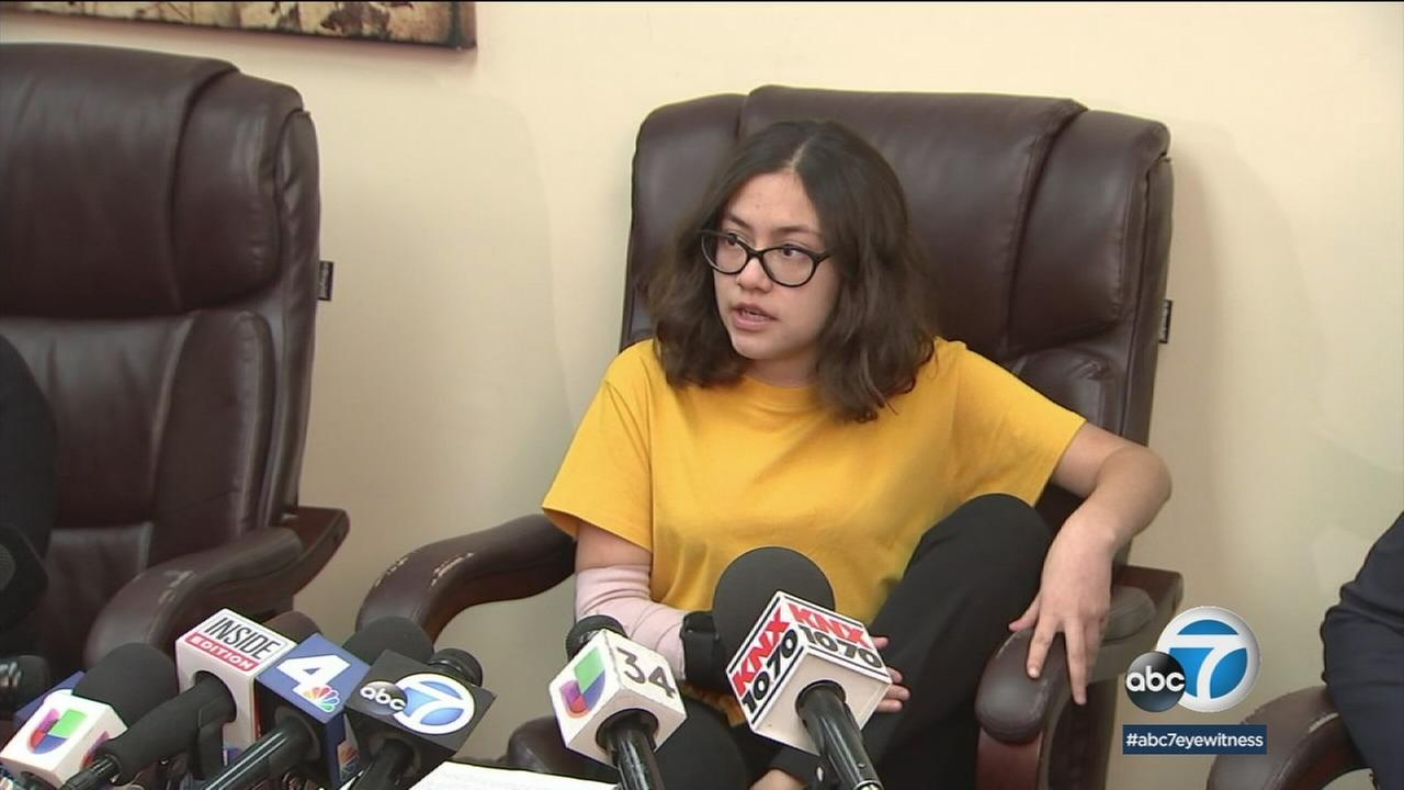 Bethany Nava spoke at a press conference Monday, Jan. 29, 2018, at her attorneys office in South Pasadena.