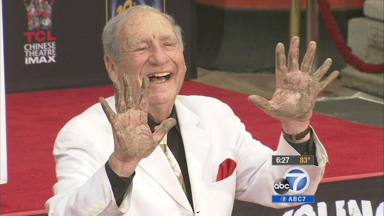 Comedian Mel Brooks at his hand and footprint ceremony in Hollywood on Monday, Sept. 8, 2014.