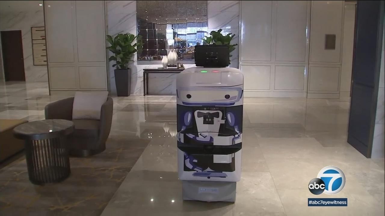 There is a high-tech wave of hospitality at the new luxury Sheraton hotel in San Gabriel: robots to deliver your luggage and room service.