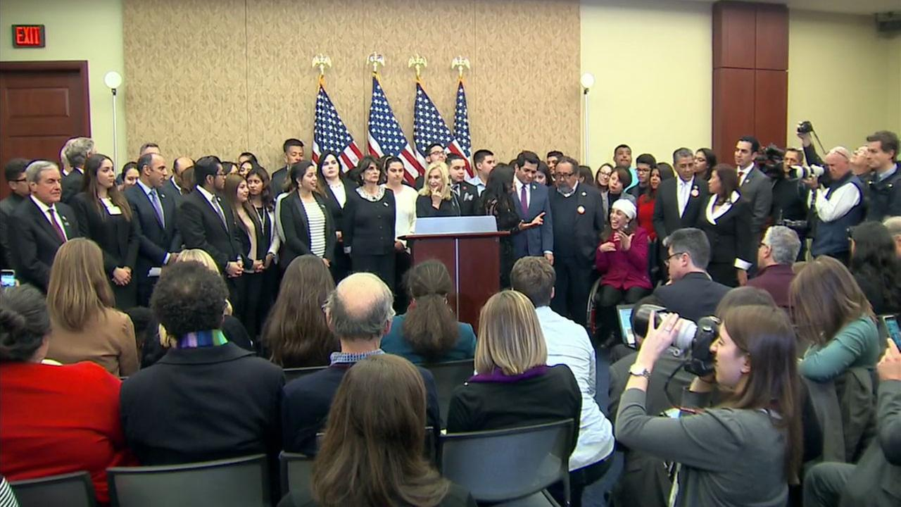Dreamers and members of Congress lined up for a press conference before President Donald J. Trumps State of the Union address on Tuesday, Jan. 30, 2018.